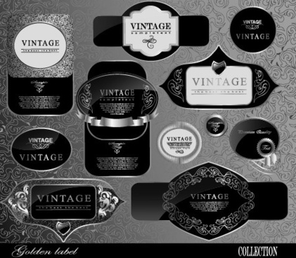 black glass textured label vector set