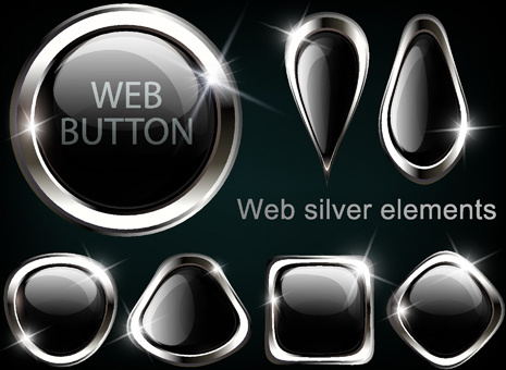 black glass textured web button vector