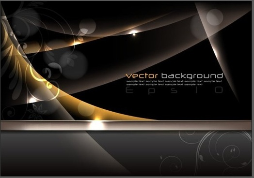 black glossy and gloden elements vector backgrounds