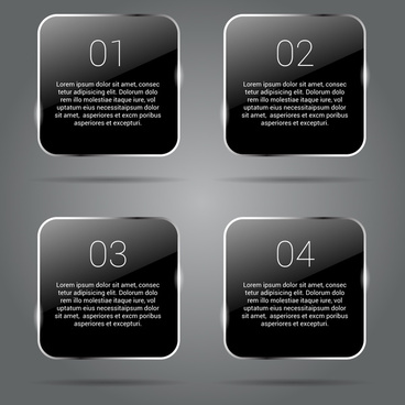 black glossy banners infographics