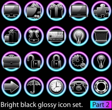 black glossy icon set 01 vector