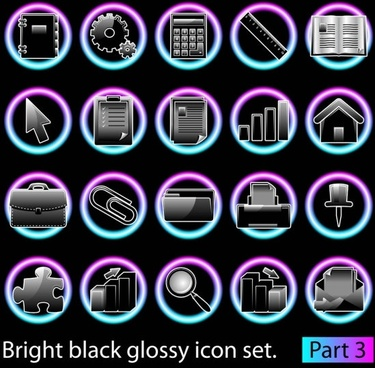 black glossy icon set 03 vector