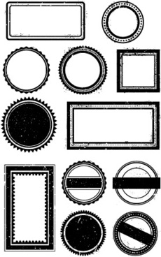 Black Grunge Stamp Borders Vector