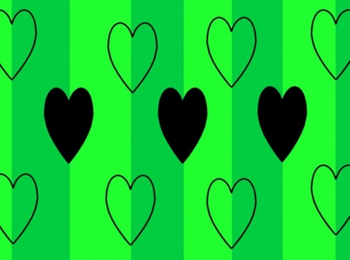black hearts on green background