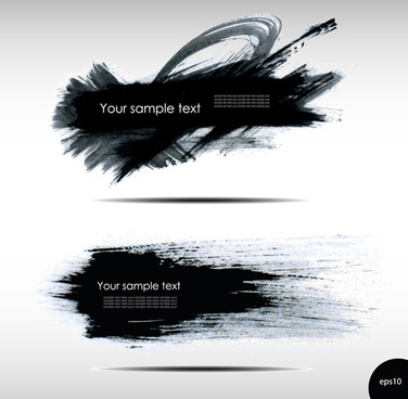 black ink grunge banners design vector