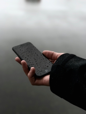 black iphone water drops