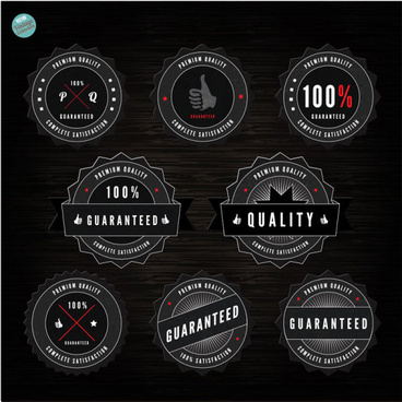 black label of quality and guaranteed vector