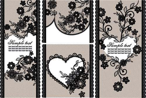 black lace floral banner vector
