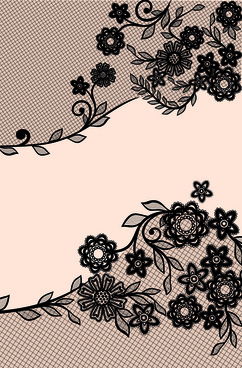 black lace floral creative background