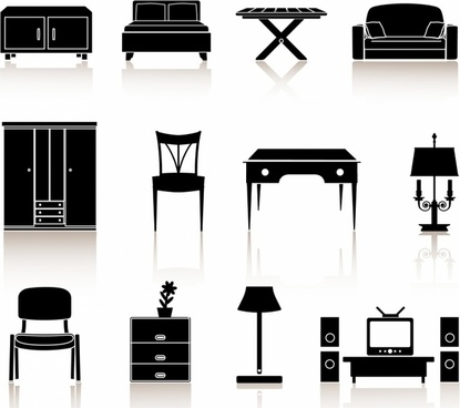 black n white icons - furniture