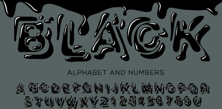 black paint alphabet and numbers vector