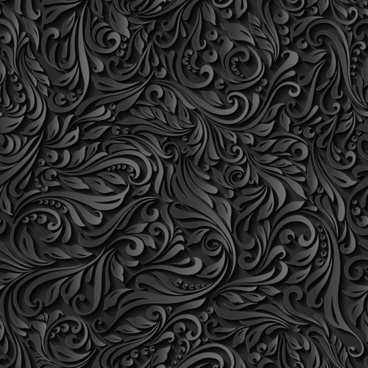 black paper floral seamless pattern vector