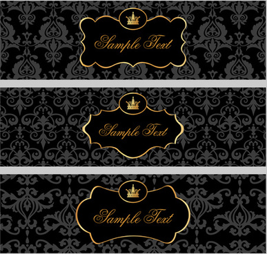 black pattern floral banner vector set