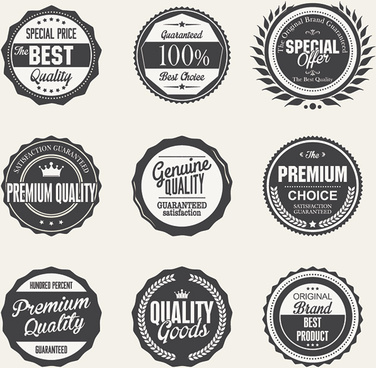 black premium quality label set