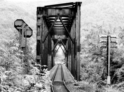 black railway bridge railway