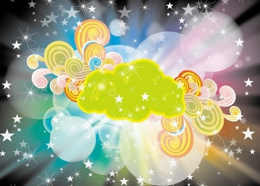 eventful background gleaming stars clouds bokeh round ornament