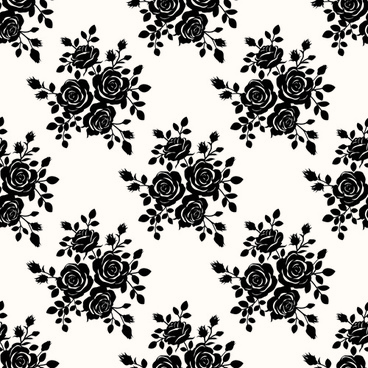 black roses seamless patterns vector graphics