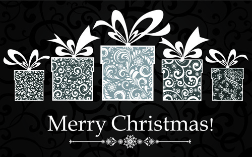 black style14 christmas backgrounds vector