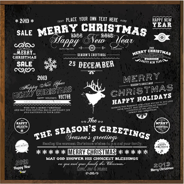 black style christmas ornaments elements vector
