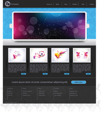 black style website templates design vector