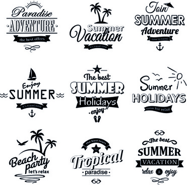 black summer holiday labels vector
