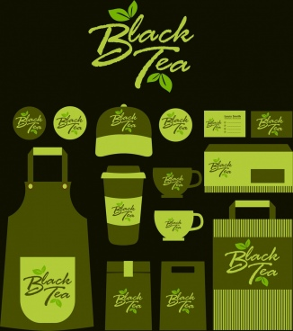 black tea brand identity sets dark green design