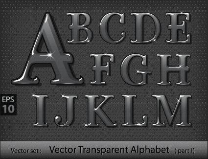 black transparent alphabet vector