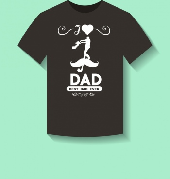black tshirt decoration love dad motif white silhouette