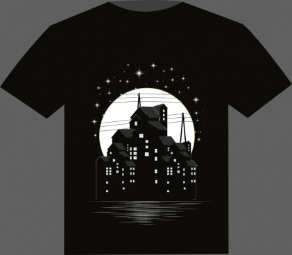 black tshirt design buildings moonlight sparkling stars decor