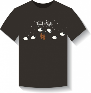black tshirt template dream design sheeps counting decor