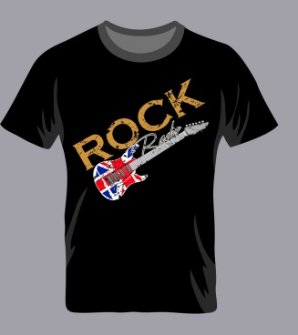 black tshirt template grunge rock style guitar icon