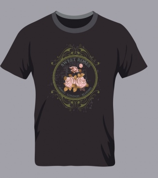 black tshirt template pink roses decoration classical style