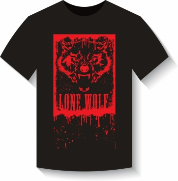 black tshirt template red wolf icon fearful style