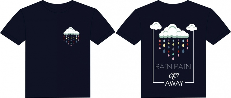 black tshirt template weather style rain cloud icons