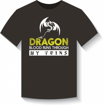 black tshirt template western dragon icon texts decoration