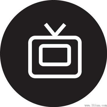black tv icon vector