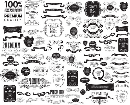 black vintage ornaments with labels and ribbon vector