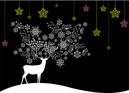 black white christmas background with deer and coloured stars