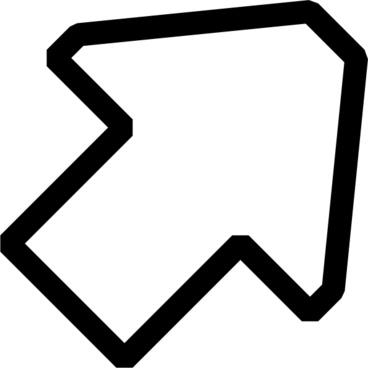 Black White Up Right Arrow clip art