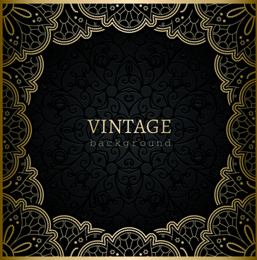 black with golden vintage background art vector