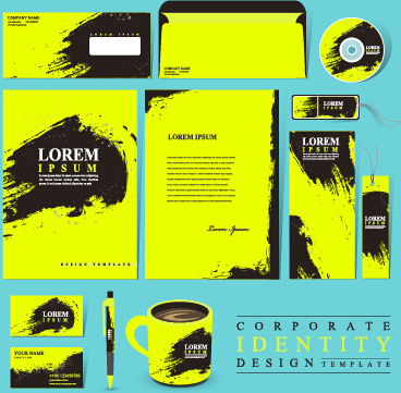 black with green company kit vector