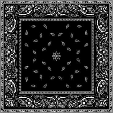 black with white bandana patterns design vector