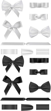black with white bow ribbon vector