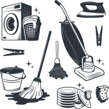 black with white cleaning tools vector