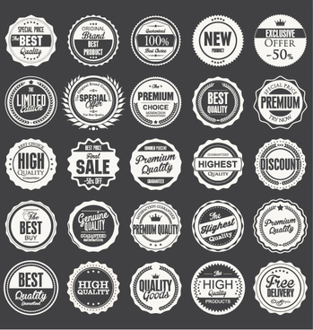 black with white premium quality labels vector