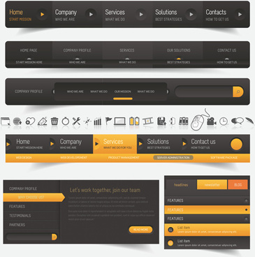 black with yellow website navigation vector design