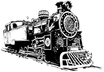 vintage locomotive sketch design black and white style