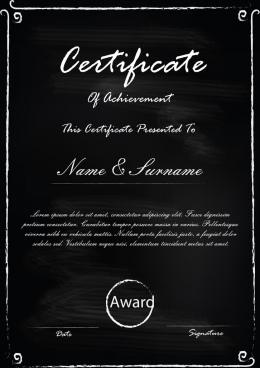 blackboard certificate template design concept