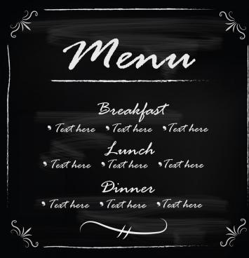 blackboard frame template menu vector