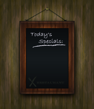 blackboard restaurant menu on the wall vector